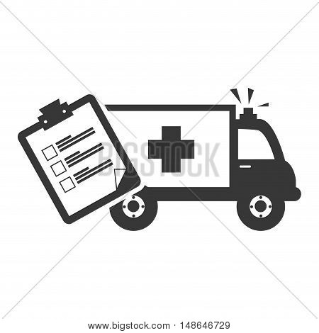 ambulance emergency medical vehicle with medicine report table. vector illustration