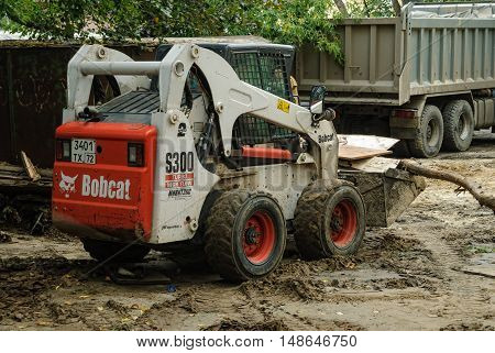 Tyumen, Russia - September 15, 2007: skid loader working on road construction