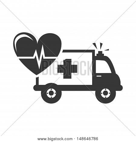 ambulance emergency medical vehicle with cardio pulse heart. vector illustration