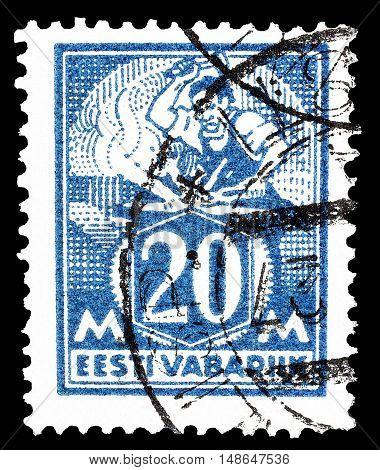 ESTONIA - CIRCA 1925 : Cancelled postage stamp printed by Estonia, that shows Blacksmith.