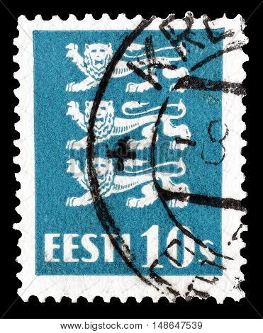 ESTONIA - CIRCA 1928 : Cancelled postage stamp printed by Estonia, that shows Coat of arms.