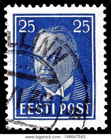 ESTONIA - CIRCA 1938 : Cancelled postage stamp printed by Estonia, that shows President Konstantin Päts.