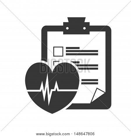 medicine report table with cardio pulse heart. vector illustration