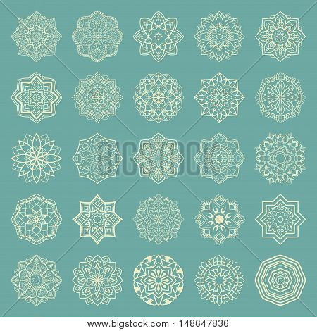 Set of mandalas. Collection of stylized stars and snowflakes on a light blue background. Template for embroidery. Simple design elements. Vector round ethnic ornaments. Sketches for tattoo.