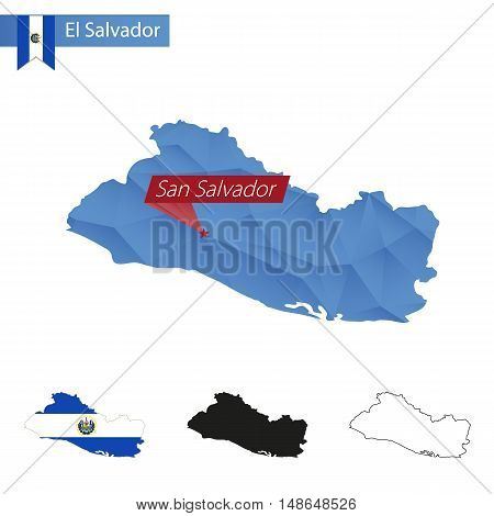 El Salvador Blue Low Poly Map With Capital San Salvador.