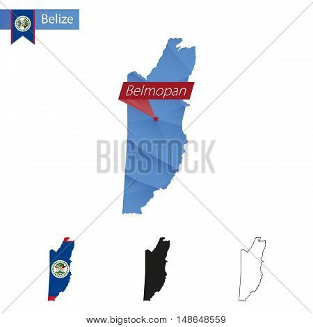 Belize Blue Low Poly Map With Capital Belmopan.