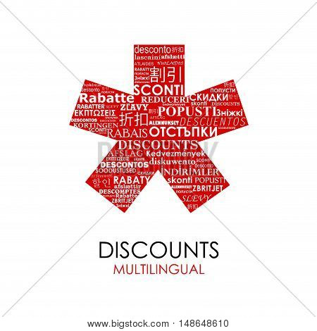 Vector red Asterisk with discounts for multilingual