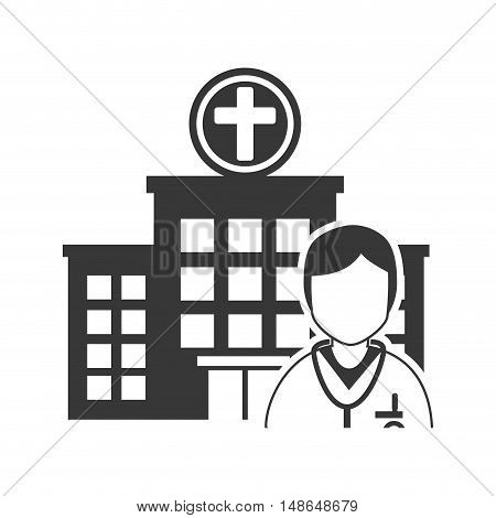 hospital building and avatar medical doctor with stethoscope tool. vector illustration