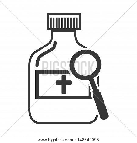medical medicine bottle with magnifying glass tool. vector illustration