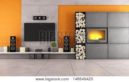 Modern Living Room With Tv And Fireplace