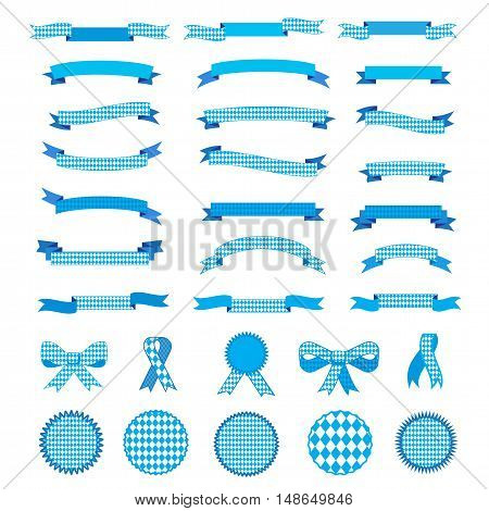Set of Oktoberfest Autumn Holiday ribbons and banners isolated on white background. October festival blue ribbons and labels, bow tie collection vector illustration.