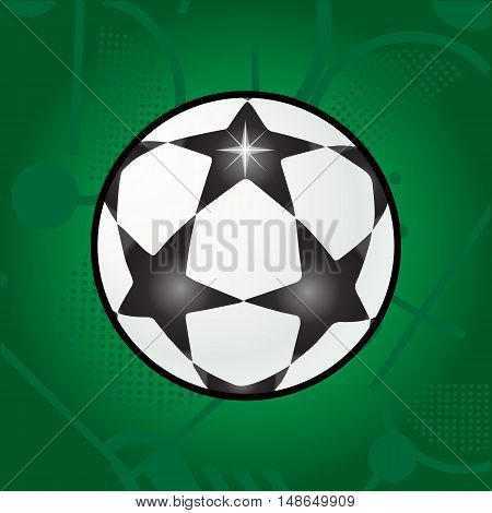 Ball stars isolated on green field background. Star soccer ball Vector illustration. White and black soccer stars ball on abstract green field pattern. Football Champions league Championship. 2016. Flat design.