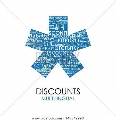 Vector blue Asterisk with discounts for multilingual