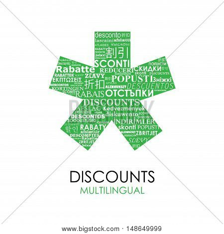 Vector green Asterisk with discounts for multilingual