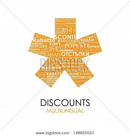 Vector orange Asterisk with discounts for multilingual