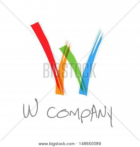 Vector initial letter W scrawled colored text
