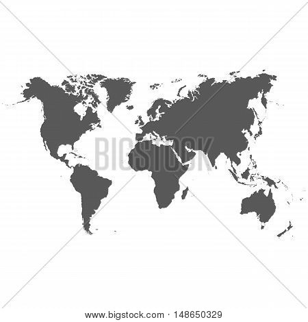 Vector map of the world done in grey on a white background.