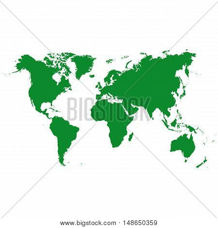 Vector world map made of green color on a white background.