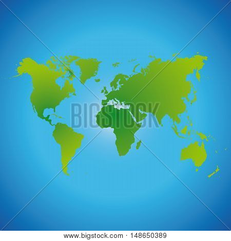 Vector world map made of green color on a blue background.