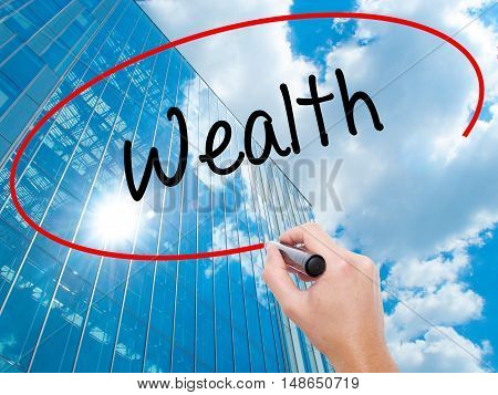 Man Hand Writing Wealth With Black Marker On Visual Screen