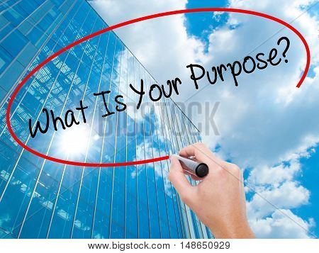 Man Hand Writing What Is Your Purpose?  With Black Marker On Visual Screen