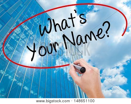 Man Hand Writing What's Your Name? With Black Marker On Visual Screen