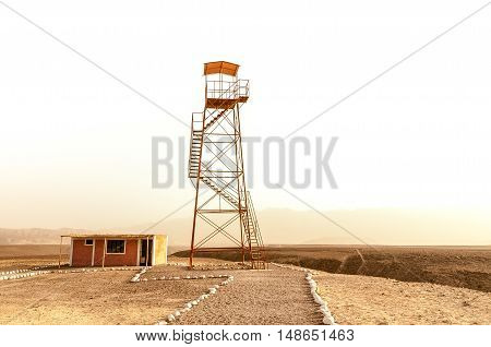 Iron watch tower, miradores, to view Nazca lines, Peru