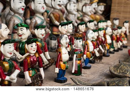 The Vietnamese traditional water puppets of the theater in Hanoi Vietnam. Each puppet represents one character in the normal life in the past