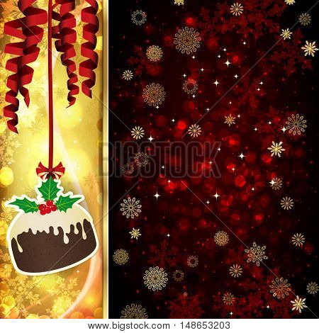 Christmas card with Christmas decor, serpentine, snowflakes, confetti on golden and red background.