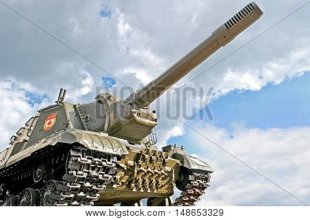 BELGOROD RUSSIA - August 30.2016: Old tank participated in the battle near the entrance to the museum-diorama of the Battle of Kursk on a background sky