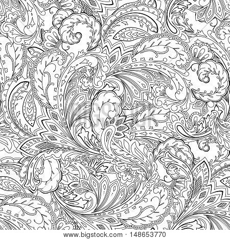 Seamless paisley pattern. Coloring page ornamental background