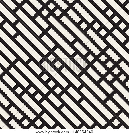 Vector Seamless Black And White Diagonal Lines Pattern. Abstract Geometric Background Design