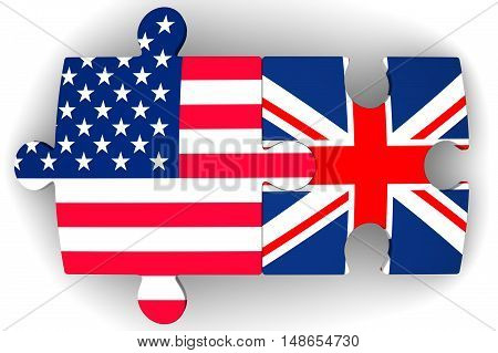 Cooperation between the United States of America and the United Kingdom. Puzzles with flags of the United States of America and the United Kingdom on a white surface. The concept of coincidence of interests in geopolitics. Isolated. 3D Illustration