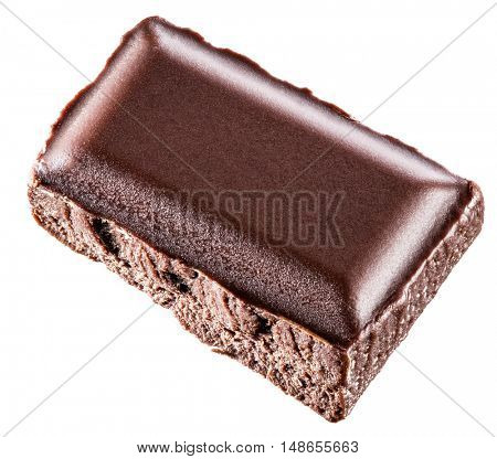 A piece of chocolate bar isolated on a white background.