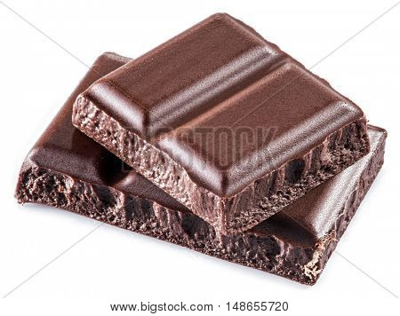 Pieces of chocolate bar isolated on a white background.