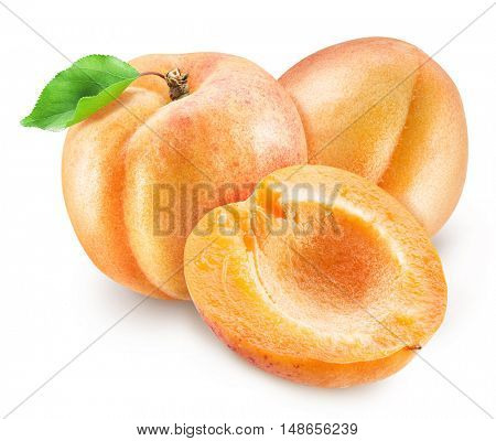 Ripe apricot fruits and apricot cross section. Clipping paths.