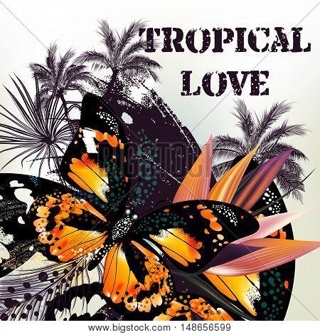 Beautiful tropical background with palm leafs and butterfly