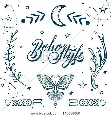 Vector Set of Boho Style Elements. Lettering Calligraphy text. Tattoo template. Trendy hand drawn tribal Gypsy symbol collection.