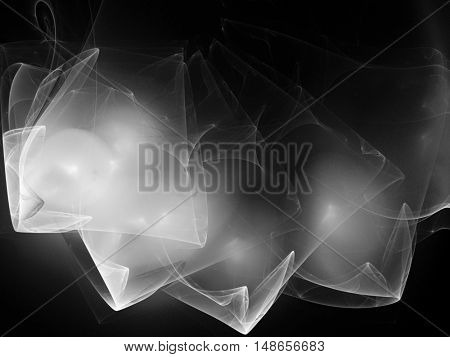 Digital abstract fractal background generated at computer in black and white.