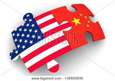 Cooperation between the United States of America and China. Puzzles with flags of the United States of America and China on a white surface. The concept of coincidence of interests in geopolitics. Isolated. 3D Illustration