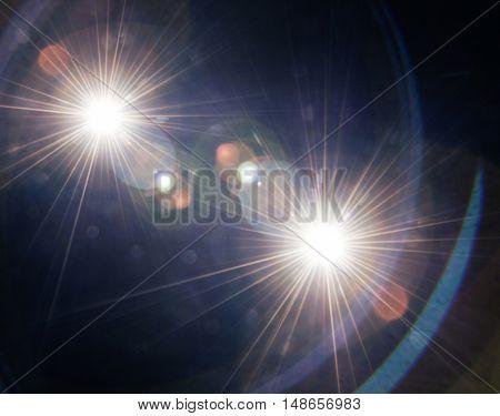 Natural lens flare on a dark background