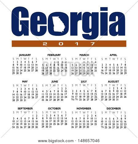 A 2017 creative Georgia calendar with the state outline