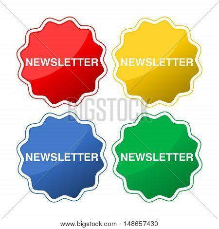 Newsletter button icon set on white background