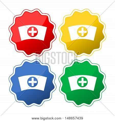 Nurse hat icon - Vector set on white background