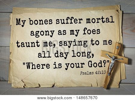 TOP-1000.  Bible verses from Psalms.My bones suffer mortal agony as my foes taunt me, saying to me all day long,