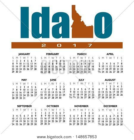 A 2017 creative Idaho calendar with the state outline