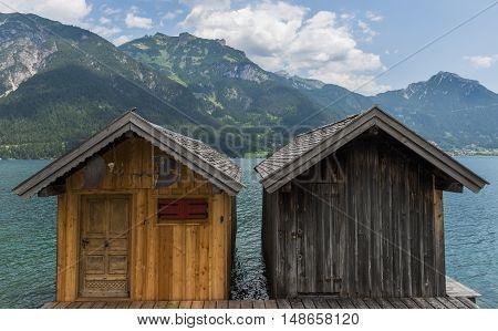 Pertisau Austria - July 11 2015: Two cabins in Pertisau at the Achensee in Austria.