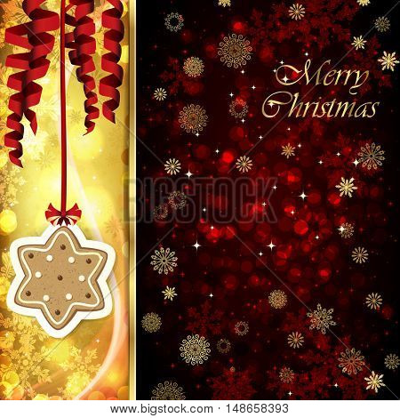 Vector Christmas card with Christmas decor, serpentine, snowflakes, confetti on golden and red background.