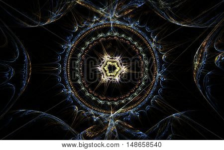 fractal pattern ornament circle in the center of the star in a flash of yellow around the blue lines on a black background