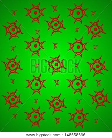 abstract green background with red ornaments suitable as a container